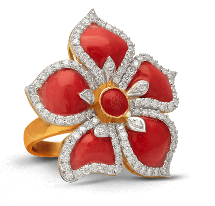 kiran jewels, jewellery manufacturers mumbai, kiran gems, designer jewellery, women jewellery, rings, red ring, platinum rings, flower ring, kalakriti, enamelling ring, diamond ring, ladies ring, brij design studio